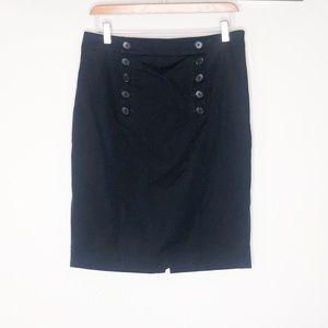 Ann Taylor navy sailor pencil skirt 8
